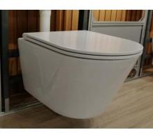 Унитаз-подвесной безободковый, вып 90 гр., белый LT053E-R 515x355x365 с UF крышкой, микролифт
