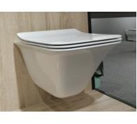 Унитаз-подвесной безободковый, вып 90 гр., белый LT054E-R 505x360x370 с UF крышкой, микролифт