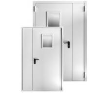 Противопожарная метал дверь 2050x1200 со стеклом (300x400)