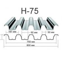 Профнастил н-75 Оцинкованный толщина-0,7мм, ширина-800x750мм, Длина-6000мм