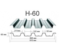 Профнастил н-60 Оцинкованный толщина-0,7мм, ширина-902x845мм, Длина макс13000мм