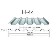 Профнастил н-44 Оцинкованный толщина-0,45мм, ширина-1050x980мм, Длина-6000мм
