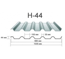 Профнастил н-44 Окрашенный толщина-0,45мм, ширина-1050x980мм, Длина макс13000мм