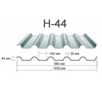 Профнастил нc-44 Окрашенный толщина-0,7мм, ширина-1070x1000мм, Длина до 13000мм