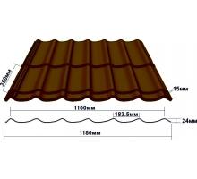 Металлочерепица Монтеррей толщина-0,45мм, ширина-1180x1100мм, Длина 420-7020мм ral 8017 (2 волны)
