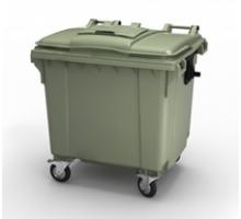 Передвежной мусорный контейнер цветной 1100 литров с крышкой, стойкостью t от -40 до +60