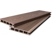 Террасная доска POLIVAN - вельвет мелкий+текстура светло-коричневый (4000x140x23)