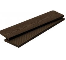 Террасная доска POLIVAN - вельвет мелкий+текстура тёмно-коричневый (4000x140x23)