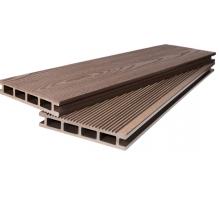Террасная доска POLIVAN - полоска широкая+текстура светло-коричневый (4000x140x23)