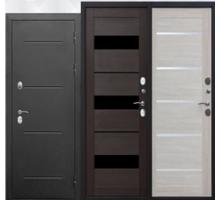 Металлическая дверь Изотерма серебро Царга, темный кипарис, листвен.беж 2050x860(960)x110мм наполнение PIR-плита