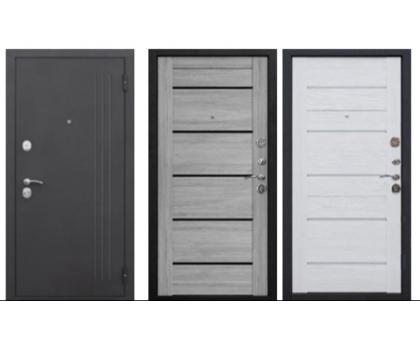 Металлическая дверь Нью-Йорк 7,5 см (ривьера пепельная царга, ясень белый, эмаль царга) 2050x860(960) наполнение пенополистирол