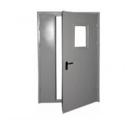 Противопожарная метал дверь 1300x2050 мм со стеклом (300x400) огнестойкая минеральная вата