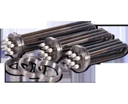 Секции электроводонагревателей ( три ТЭНа на фланце из круга 90мм)  СЭВ 4,8 резьба G 2 1/2 , 74мм(59мм)