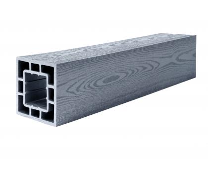 Столб опорный (текстура дерева или 3D фактура мелкой полоски) POLIVAN GROUP коллекция DENPASAR (120*120*3000 мм) из ДПК сер.