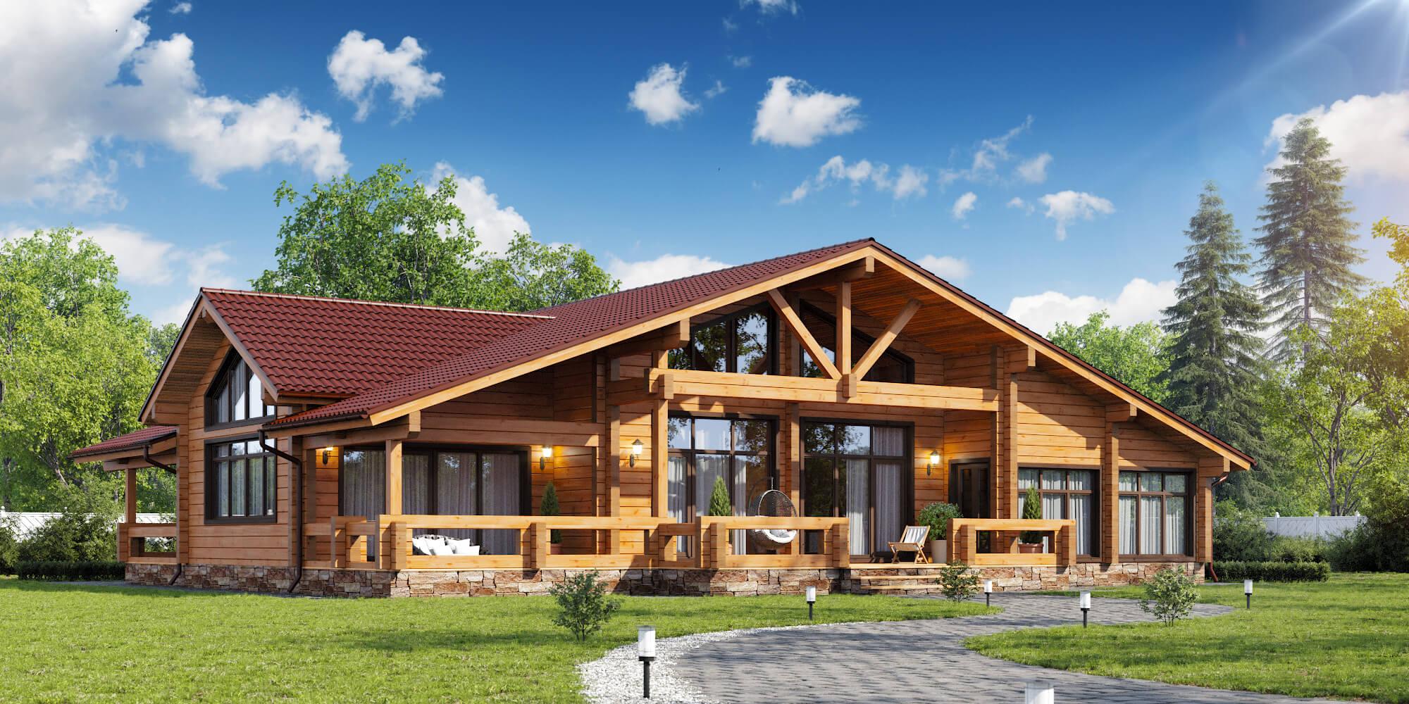 Дом из сосновых брусьев